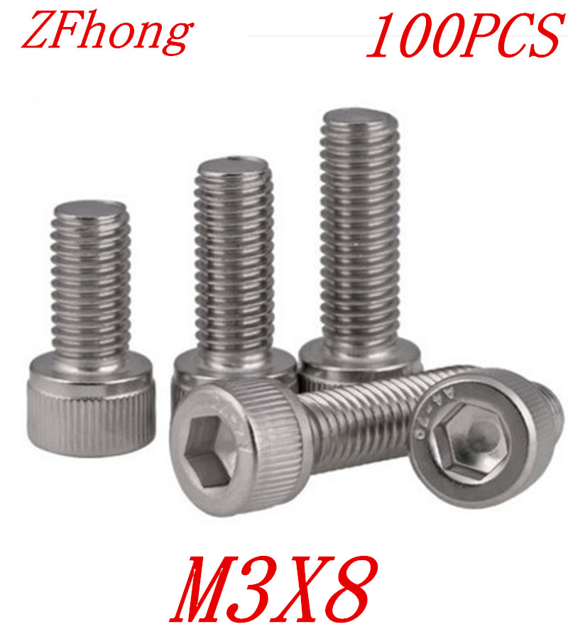 100PCS A2-70 DIN912 m3*8 m3 x 8 stainless steel 304 hex socket cap head screw 250pcs set m3 5 6 8 10 12 14 16 20 25mm hex socket head cap screw stainless steel m3 screw accessories kit sample box