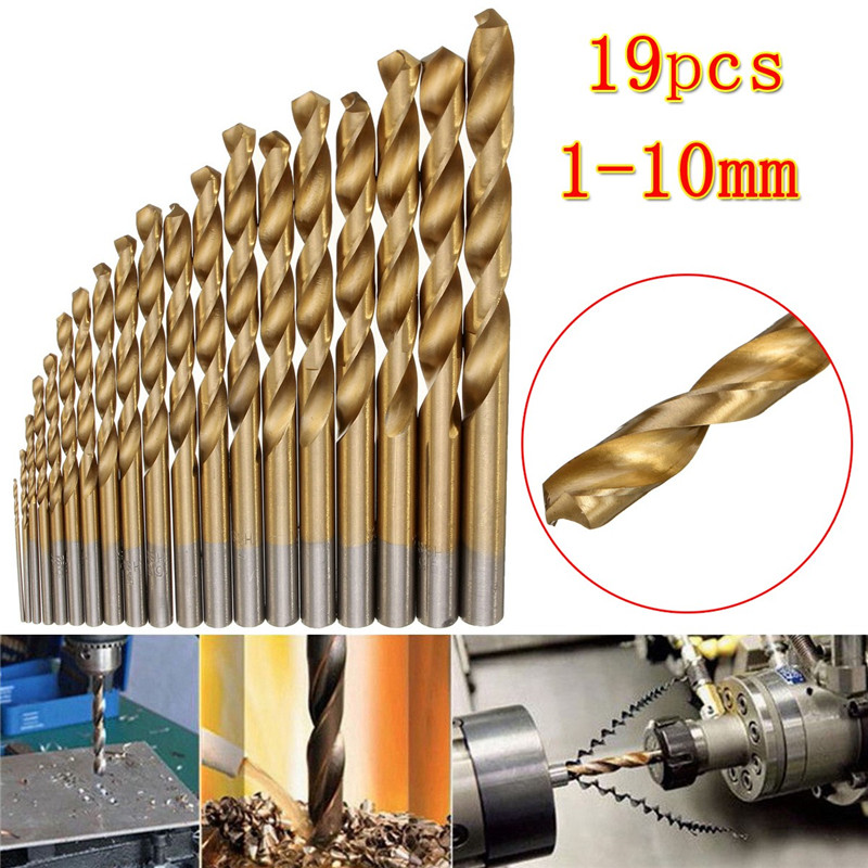19pcs Precision Drill Bits Set 1.0-10mm Titanium Coated Profestional Straight Shank Twist HSS Drilling Accessories Tools Kit 99pcs mayitr hss drill bits set titanium coated woodworking drilling tools 1 5mm 10mm