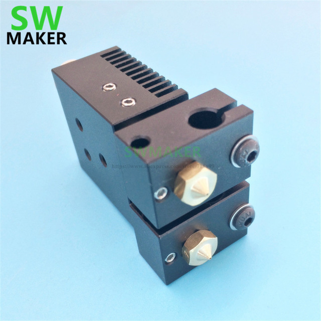 New Chimera Plus+ Dual Extrusion head 2 in 2 out V6 PT100 hotend kit 1.75mm 0.4mm for 3D printer parts high quality
