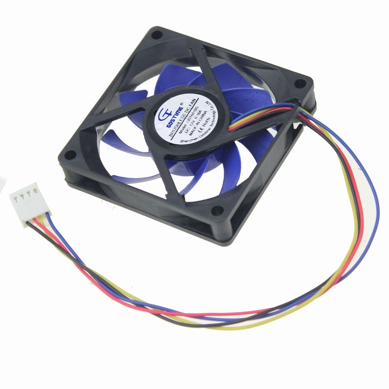 Gdstime 1 pcs 12V 4 Pin 70mm Mute Fan 70x15mm Fluid Bearing Big Air Flow Blue Blade DC Cooling Fan 7cm PC Case Cooler 7015 gdstime 10 pcs dc 12v 14025 pc case cooling fan 140mm x 25mm 14cm 2 wire 2pin connector computer 140x140x25mm