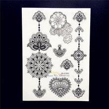 25 Styles Waterproof Black Mandala Flower Arm Tattoo Sleeve Decals Fake Removable Henna Tatoo Body Art Temporary Tattoo Stickers