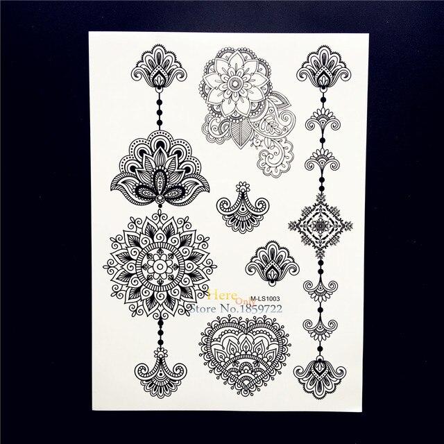 25 Stylów Arm Rękaw Tatuaż Naklejki Wodoodporna Czarny Mandala Kwiat