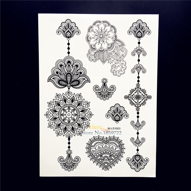 51de03e64 25 Styles Waterproof Black Mandala Flower Arm Tattoo Sleeve Decals Fake  Removable Henna Tatoo Body Art Temporary Tattoo Stickers