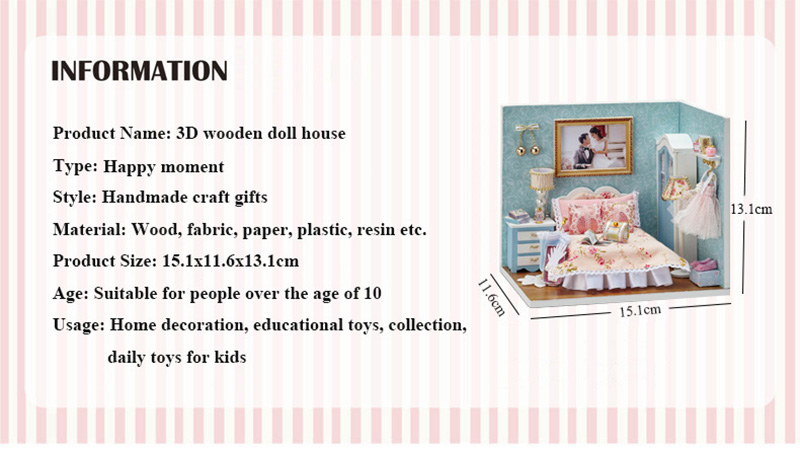 DIY Wooden Doll House Miniature Furniture Toy 3D Handmade Miniaturas Dollhouse Assemble Kit Toys for Birthday Gifts Happy Moment (2)