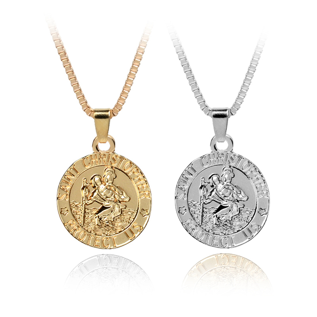 St christopher pendant saint protect us necklace saint christopher st christopher pendant saint protect us necklace saint christopher pendant religious jewelry gift with box chain aloadofball Gallery