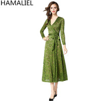 European Fashion Women Party Dress 2017 Runway Autumn Green Floral Lace Tie Bow Long Sleeve Female