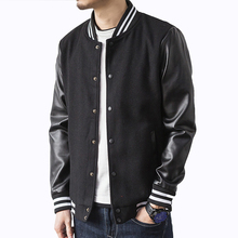 New 2017 Autumn Men Jacket Splicing PU Sleeve Coat Casual Baseball Collar Brand Wool Outerwear Black