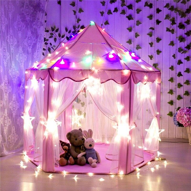 Portable Princesse Château Jouer Tente Avec Led Lumière Enfants Activité Fée Maison enfants Drôles Intérieur Théâtre En Plein Air jouer Jouet