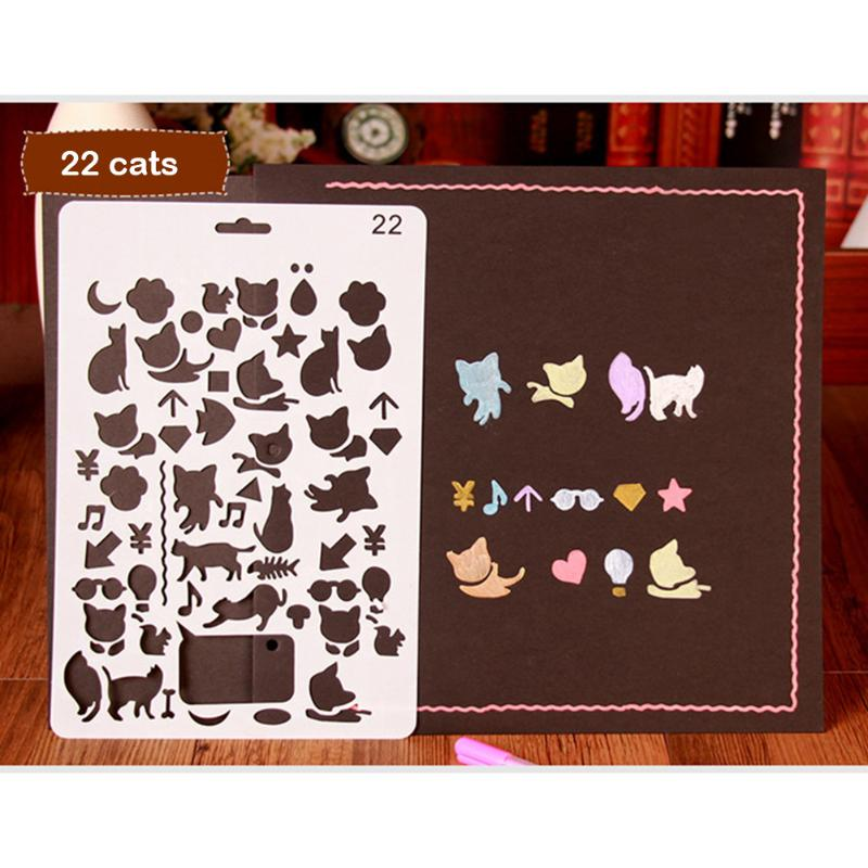 Cute Drawing Hollow Drafting Stencil Kids Student DIY Crafts Photo Album Drawing Painting Tools School Educational Supplies