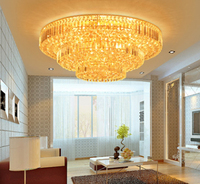 European Style Modern Gold Round LED Crystal Ceiling Lamp60cm 80cm 100cm 120cm With K9 Crystals For
