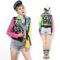 New Crazy style Graffiti Pattern PU Leather for Women Jacket With a Belt and Zippers Woman Motorcycle Short Leather Outwear