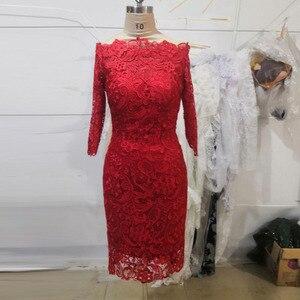 Image 2 - Đầm Vestido Novia Dây Kéo Lưng Ngắn Dạ hội Đồ Bầu 2018 Toàn Ren Dài TớI GốI Mẹ Của Cô Dâu Đầm với Một Nửa tay áo