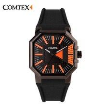 COMTEX кварцевые часы Повседневная Мода Spore Часы мужчины Люксовый Бренд Водонепроницаемой Кожи relogio masculino S6242G