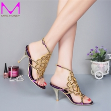 Spring And Summer Sandals Cutout Thin Heels Diamond Female Slippers Wedding Party Shoes Women Sexy High-heeled Ankle Strap Pumps