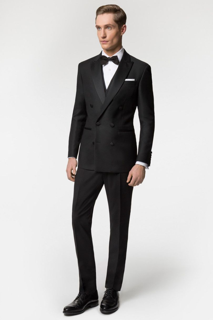Italian Style Black Double Breasted Groom Tuxedos Slim Fit ...