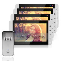 FREE SHIP New 7 inch Video Door Phone Intercom Audio System Kit Set + 4 White Monitor + IR Night Vision Outdoor Camera In Stock
