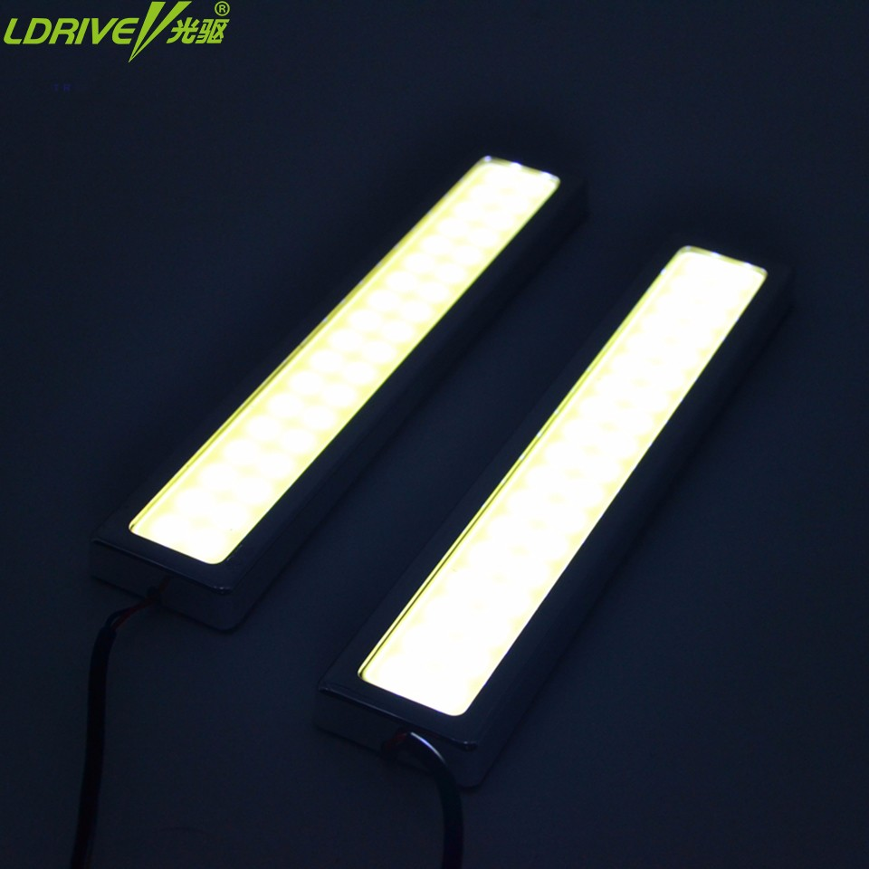 2PCs/lot Universal car COB LED Daytime Running Light DRL Car Fog Lights Car Styling Exterior lamp Waterproof sliver led bar drl 2pcs set new design drl led daytime running lamp auto cob light 100% waterproof car accessories free shipping