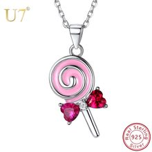 U7 925 Sterling Silver Cute Lollipop Candy Necklaces Gift for Women Girl Kids Pink Cubic Zirconia Crystal Bowknot Silver Jewelry(China)