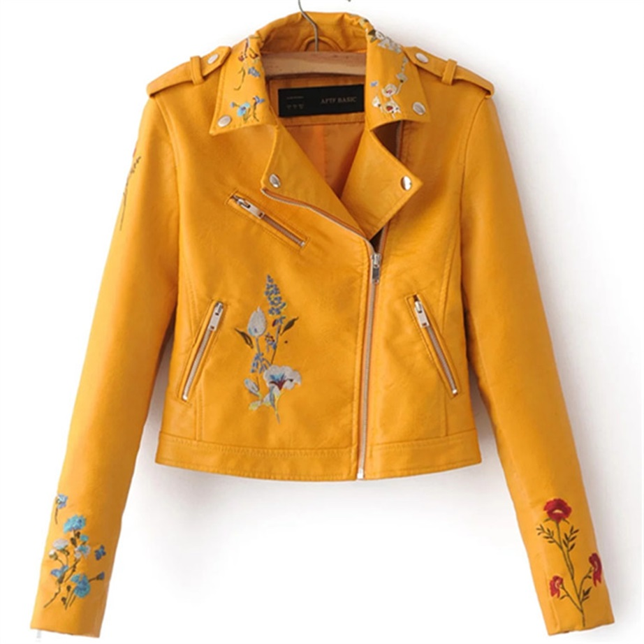 Europe and the United States 2018 spring and autumn new fashion wild women's embroidery PU   leather   zipper motorcycle jacket