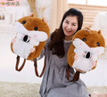 Candice guo! Super Q cartoon chubby hamster squirrel plush toy doll backpack shoulder bag birthday gift 1pc
