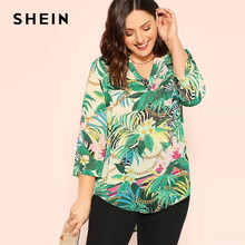 ec25a15d4e SHEIN Beach Green Tropical And Chain Dip Hem Tunic V neck Top Blouse Women  2019 Spring Vacation Asymmetrical Top Blouses