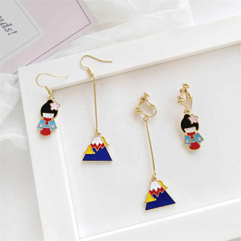 XEDZ Creative Japanese And Korean Asymmetrical Fuji Mountain Kimono Earrings Wild Cartoon Character Fashion Ladies Earrings