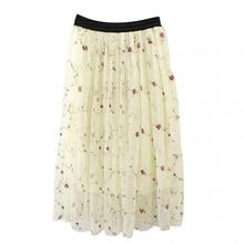 New Style Elastic Temperament Dimensional Embroidery Flower Tulle Skirt Women Midi Fast Shipping 2018