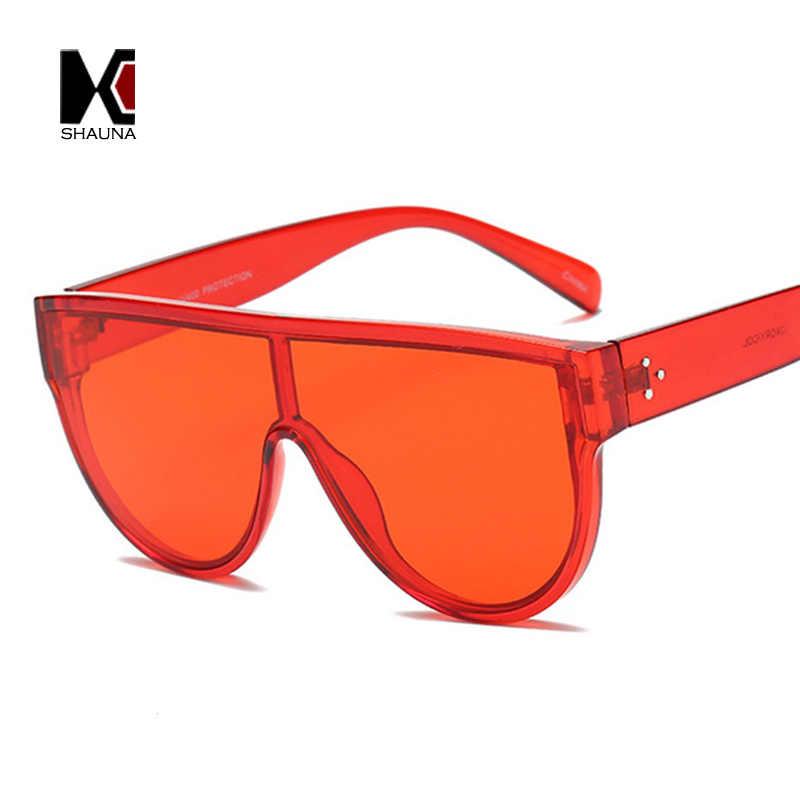 044bec0f1d SHAUNA Fashion Flat Top Women Candy Colors Sunglasses Nail Decoration Retro  Men Integrated Lens Shades UV400