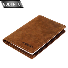 GUBINTU Men Crazy Horse Leather Passport Wallet Vintage Brown Male Slim Retro Boarding Case Holder Purse carteira