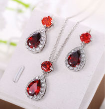 Jewelry Set Women Luxury Gems Gorgeous Banquet Party Jewelry Set Christmas Gift Emerald Vintgae Necklace Set Ruby Stud Earrings