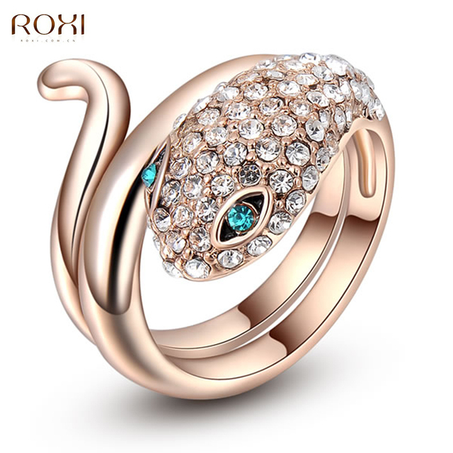 2017 ROXI Blue Eyes Snake Ring Exquisite rose golden Wedding Ring