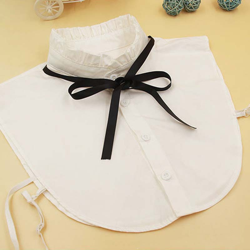 2019 Hot Sale Lotus Leaf Fake Collar White Pleated Collar Black Ribbon Bow Fake Collar Blouse Shirt Detachable Fake Tie