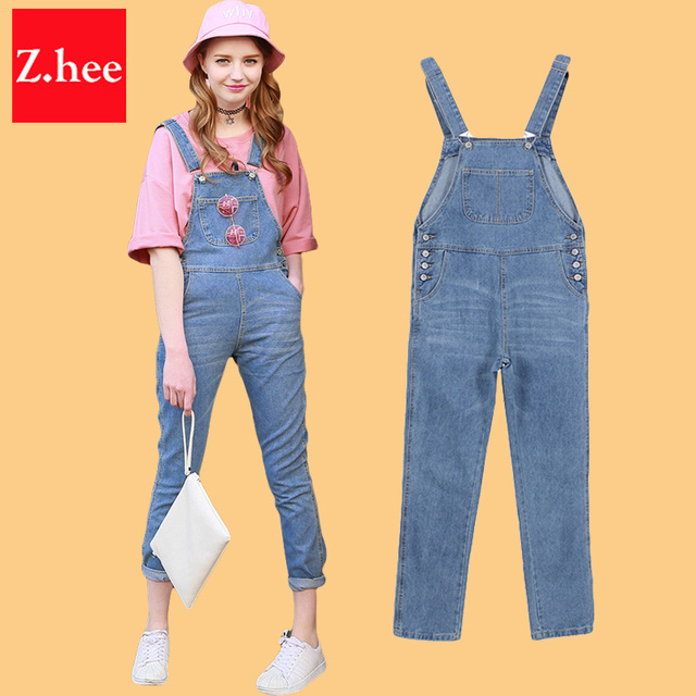 46a3715e72 Plus Size Classic Contemporary Life In Progress Denim Overalls Women  jumpsuit Tight High Waist Frayed Denim