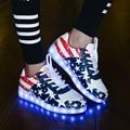 Zapatos de los hombres Led Adultos 8 Colores Unisex Zapatos Casuales Suela de Simulación Zapatos Luminosos Iluminan Zapatos Negro