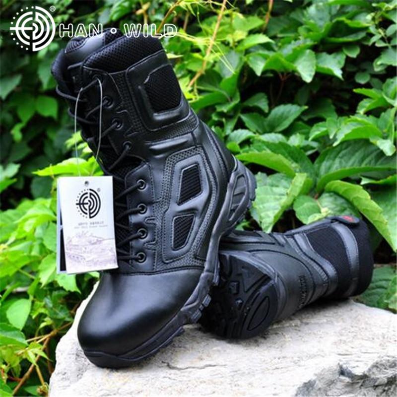 Chaussures de qualité hommes en cuir véritable Combat assaut bottes SWAT militaire désert chaussures pour hommes bottines hommes chaussures de Combat