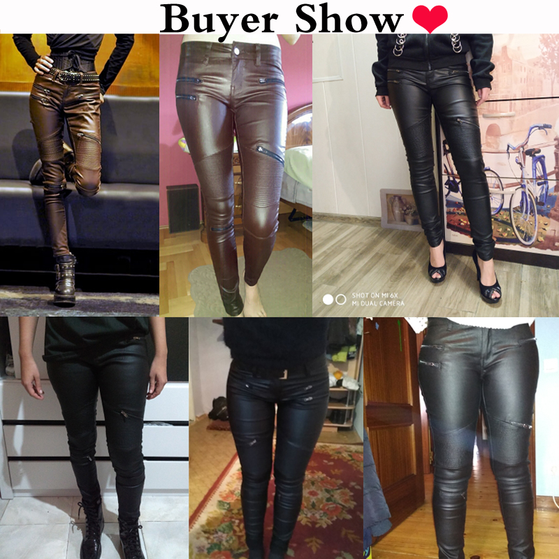 2020 Winter Stretch PU Leather Pants For Women High Waist Joggers Women Trousers Plus Size Pencil Skinny Waisted Female Pants 6