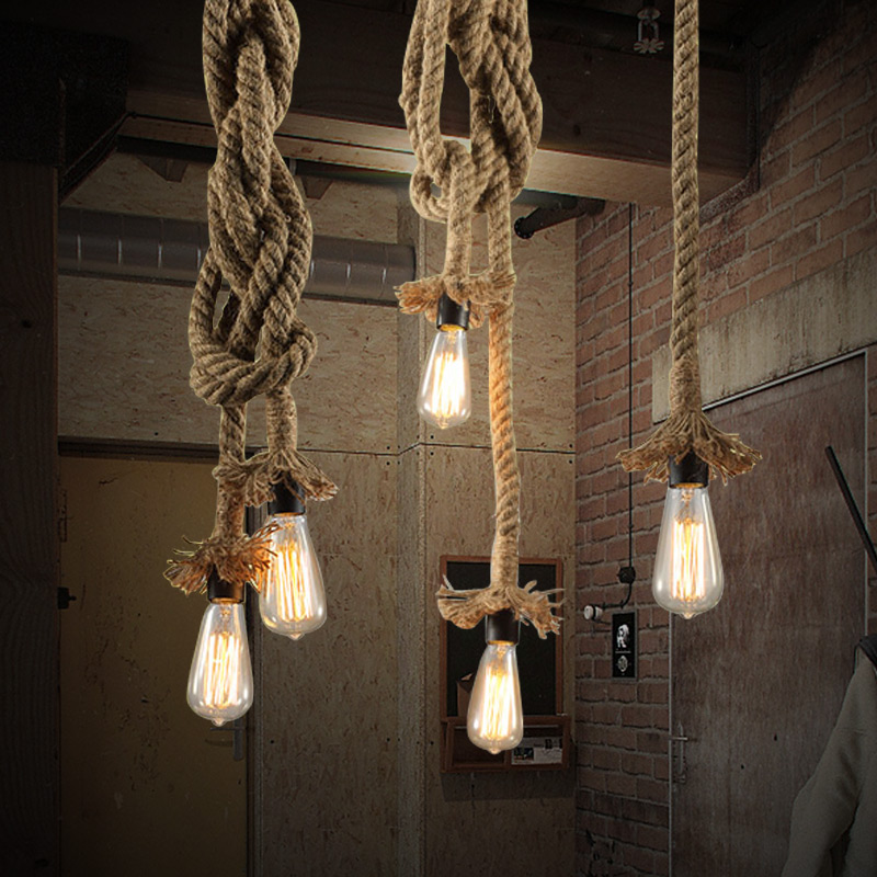 E27 Vintage Rope Pendant Lights Lamp Loft Creative Personality  Edison Bulb American Style For Living Room|rope pendant light lamp|pendant light lamp|lamp loft - title=