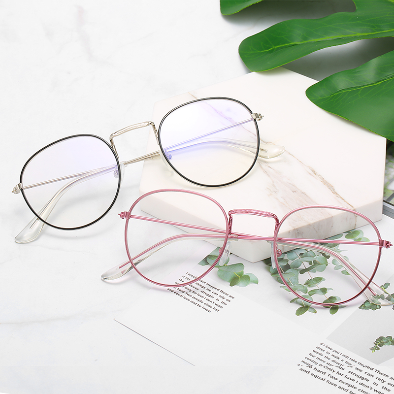 New Metal Pattern Side Frame Glasses Art Harajuku Round Flat Mirror Korean Version of Men and Women Eye Glasses