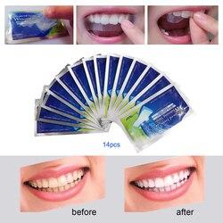 28 Pcs/14 Paar 3D Weiß Gel Zahnweiß-streifen Oral Hygiene Pflege Doppel Elastische Zahnweiß-streifen Dental bleichen Werkzeuge