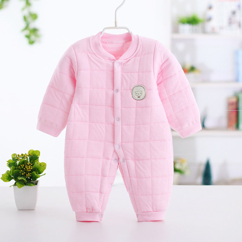 Cheap Thicken 3 layers warm boy girl baby suits and onepieces rompers yellow pink 3m infant babie cotton romper training