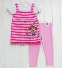 Hot !Summer Children's Dora Clothing Girl Suit Striipe T-shirt + pant 2 pcs Girls summer lovely clothing