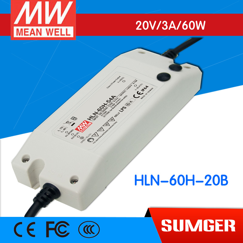 1MEAN WELL original HLN-60H-20B 20V 3A meanwell HLN-60H 20V 60W Single Output LED Driver Power Supply B type стетоскопы b well стетоскоп механический b well ws 3