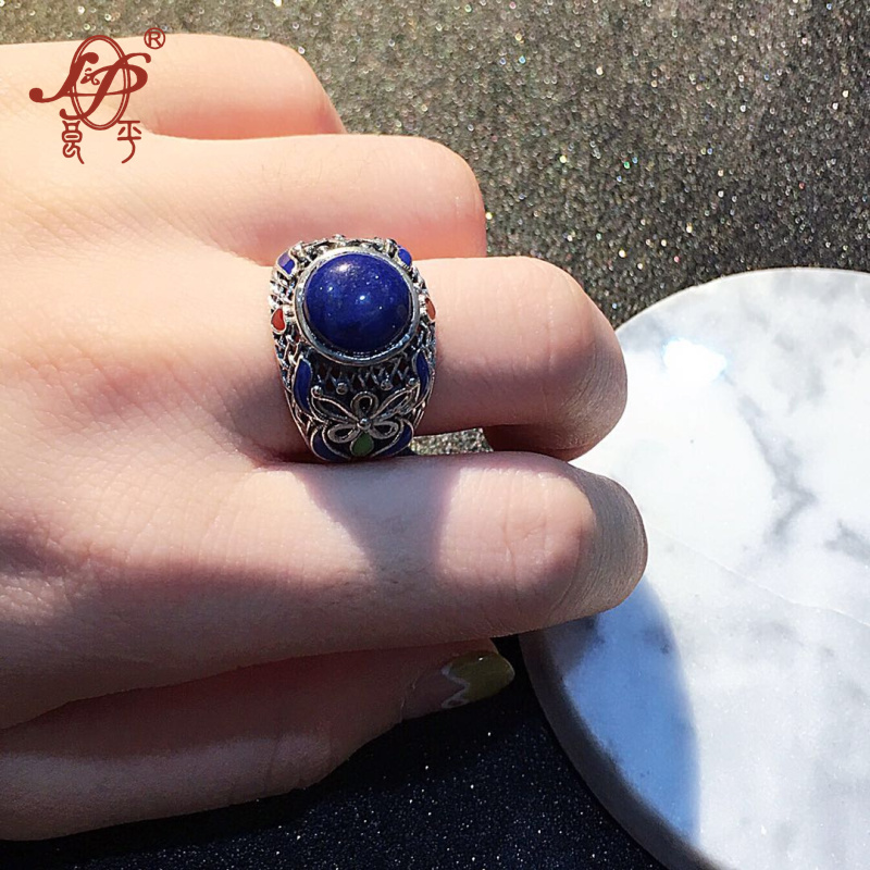 Chiang Mai, Thailand handmade enameled 925 sterling silver jewelry lapis lazuli ring for women female birthday gift christmas gi