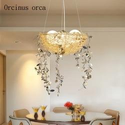 Nordycki współczesny minimalistyczny ptasie gniazdo żyrandol restauracja/bar sypialnia osobowość twórcza LED żyrandol darmowa wysyłka w Wiszące lampki od Lampy i oświetlenie na