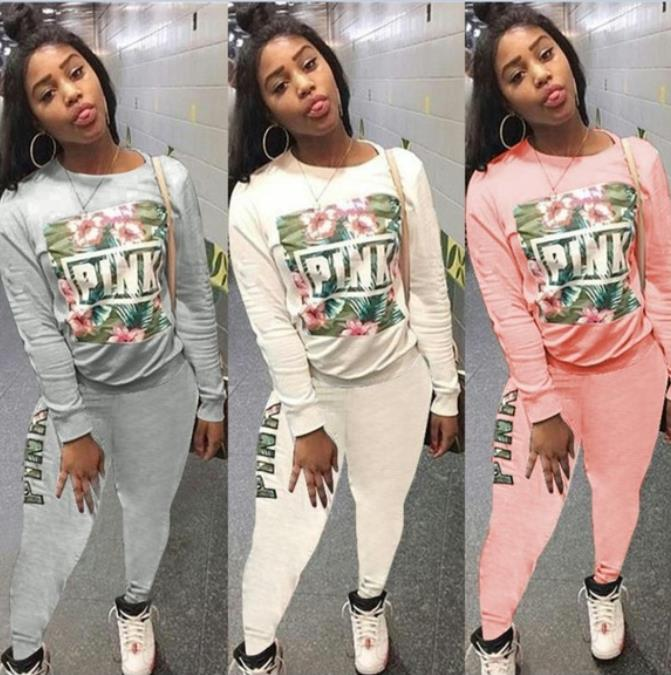 Pink Letter Print 2 Piece Outfits Autumn O Neck Full Sleeve Tops And Bodycon Long Pants Women White Tracksuits