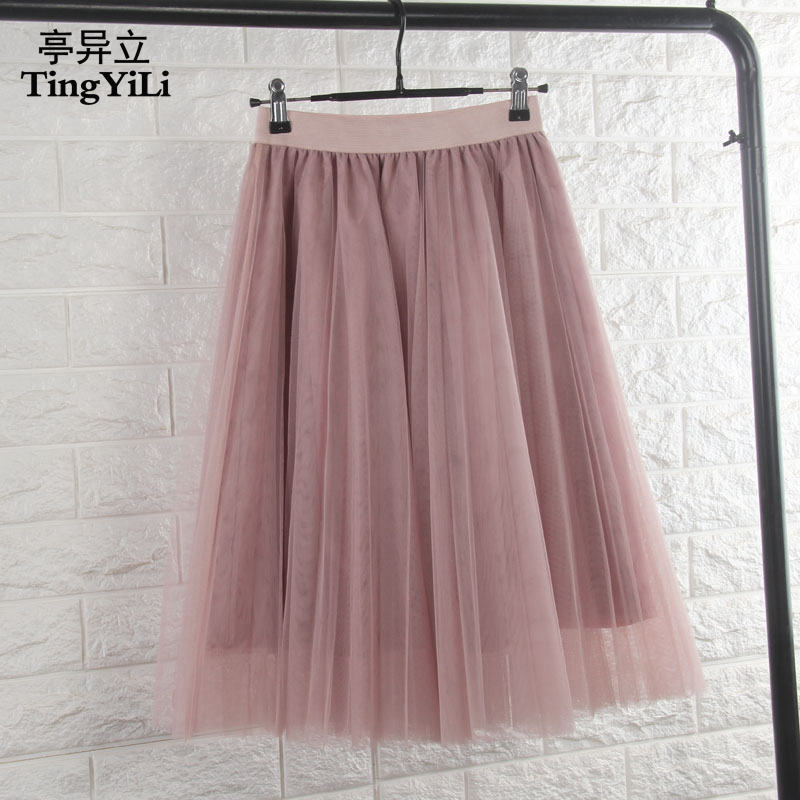 TingYiLi Tulle Skirts Womens Black Gray White Adult Tulle Skirt Elastic High Waist Pleated Midi Skirt 2016