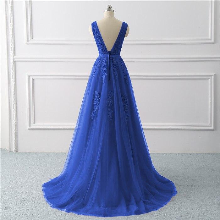 Royal blue Evening Dress plus size Long 2020 A Line Formal Party dresses appliques lace prom gown dress bridal Vestido De noiva 1