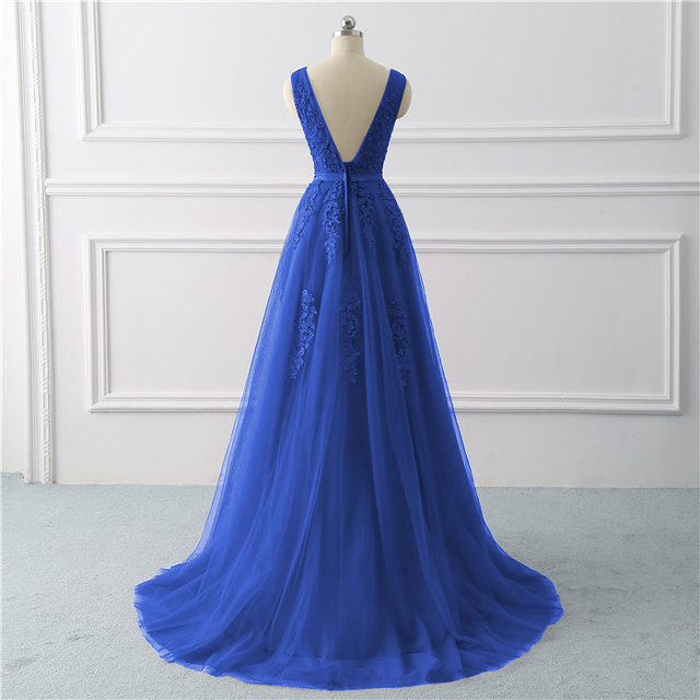 Royal blue Evening Dress plus size Long 2020 A Line Formal Party dresses appliques lace prom gown dress bridal Vestido De noiva 1