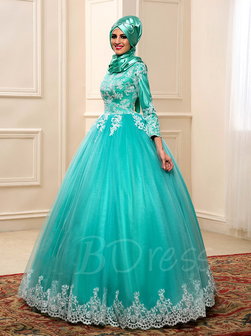 Saudi Arabian Green Lace Ball Gown Muslim Wedding Dress Islamic Long ...