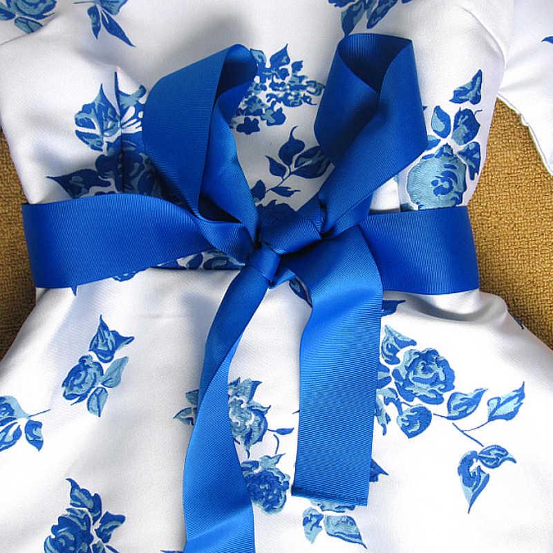 Alta calidad lo más nuevo moda 2019 vestido de pasarela elegante manga larga azul blanco porcelana Floral Jacquard Dovetail vestido